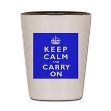 KEEP CALM and CARRY ON blue Shot Glass