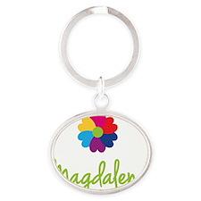 Magdalena-Heart-Flower Oval Keychain