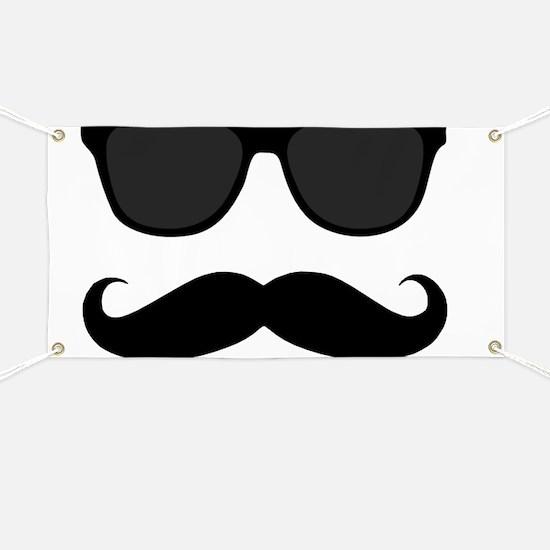 Black Mustache and Sunglasses Banner