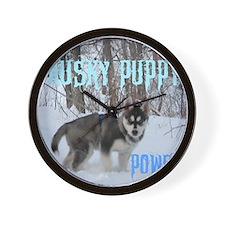 Husky Puppy Power Wall Clock