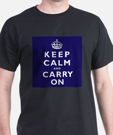 KEEP CALM and CARRY ON dark blue T-Shirt