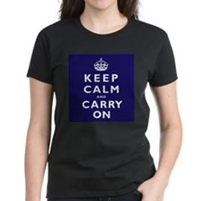KEEP CALM and CARRY ON dark blue Tee