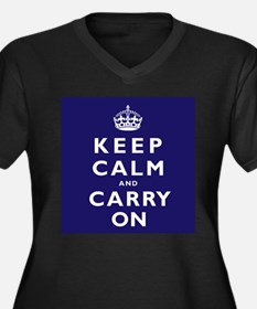 KEEP CALM and CARRY ON dark blue Women's Plus Size
