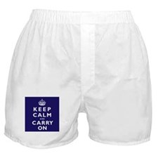 KEEP CALM and CARRY ON dark blue Boxer Shorts