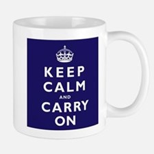 KEEP CALM and CARRY ON dark blue Mug