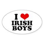 I Love Irish Boys Red Heart Oval Sticker