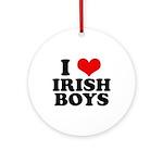 I Love Irish Boys Red Heart Ornament (Round)