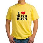 I Love Irish Boys Red Heart Yellow T-Shirt