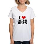 I Love Irish Boys Red Heart Women's V-Neck T-Shirt
