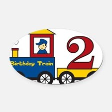 birthdaytrain2 Oval Car Magnet