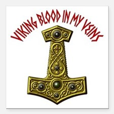 "Thors Hammer X-VB Red-A Square Car Magnet 3"" x 3"""