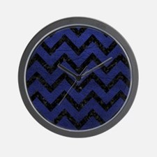CHEVRON9 BLACK MARBLE & BLUE LEATHER (R Wall Clock