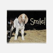 Baby goat Smile! Throw Blanket