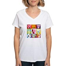 Pop Art Pit Bulls Women's V-Neck T-Shirt