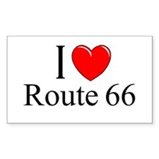 """""""I Love Route 66"""" Rectangle Decal"""