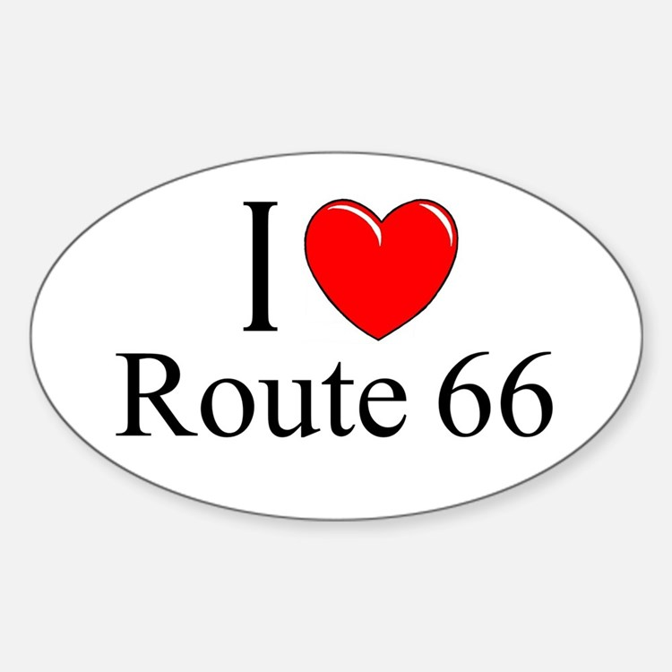 """I Love Route 66"" Oval Decal"