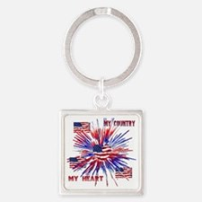 My_Country_My_Heart Square Keychain