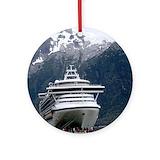 Cruise ship Round Ornaments