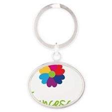 Francesca-Heart-Flower Oval Keychain