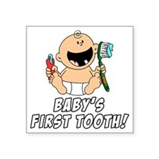 "Babys First Tooth Square Sticker 3"" x 3"""