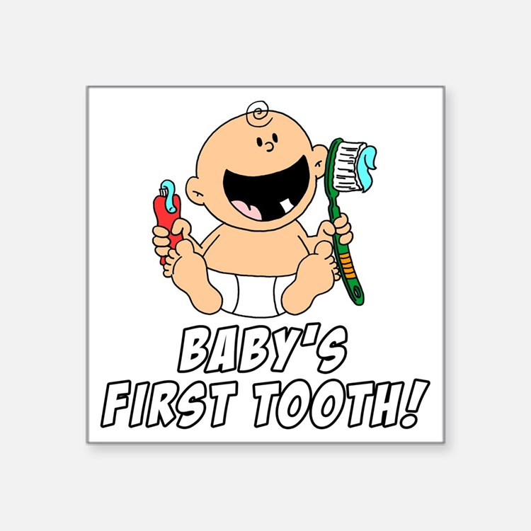 """Babys First Tooth Square Sticker 3"""" x 3"""""""
