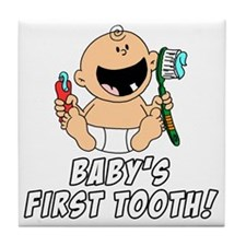Babys First Tooth Tile Coaster