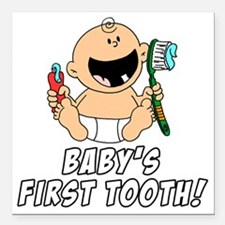 "Babys First Tooth Square Car Magnet 3"" x 3"""