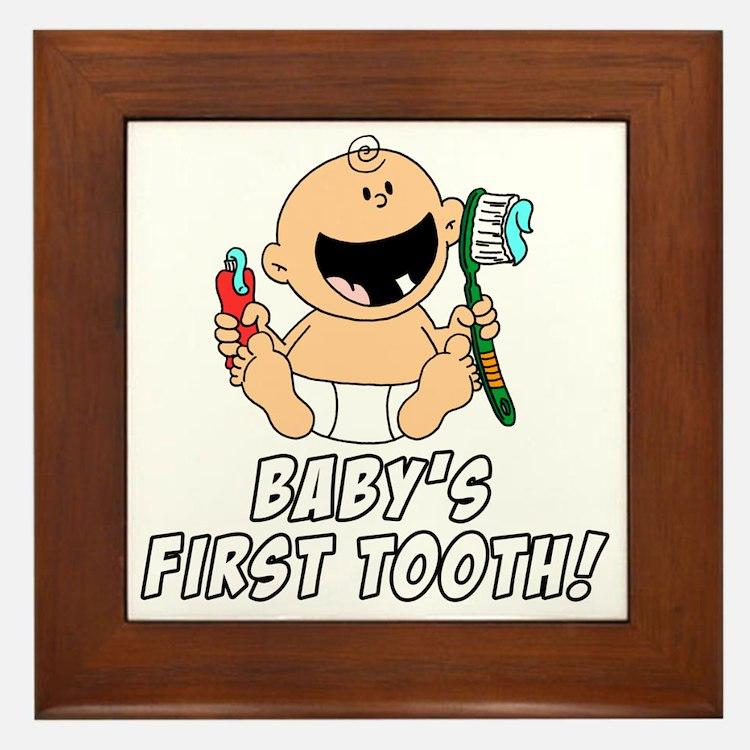 Babys First Tooth Framed Tile