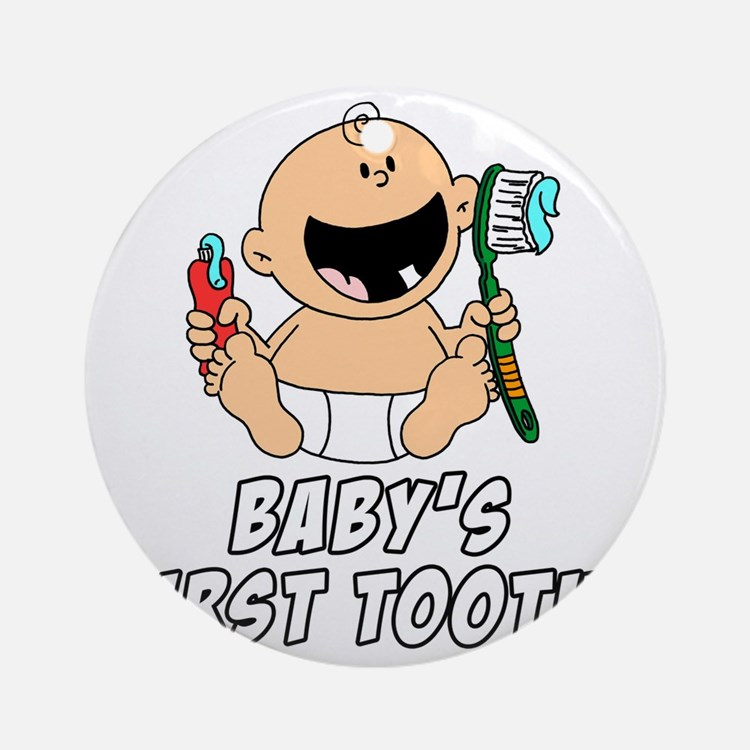 Babys First Tooth Round Ornament