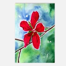 Scarlet mallow vertical Postcards (Package of 8)