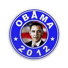 Obama 2012 logo Blue Round Ornament