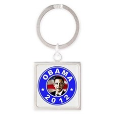 Obama 2012 logo Blue Square Keychain