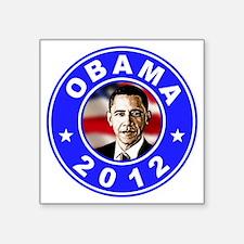 """Obama 2012 logo Blue Square Sticker 3"""" x 3"""""""