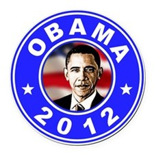 Obama 2012 logo Blue Round Car Magnet