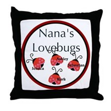 Nanas Lovebugs Throw Pillow