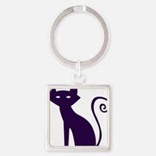 Spooky Black Cat Square Keychain
