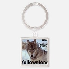 wolf_country_YNP Square Keychain