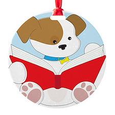 Cute Puppy Reading Ornament
