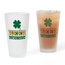 BEER Incoming with a shamrock St Patricks day Drin