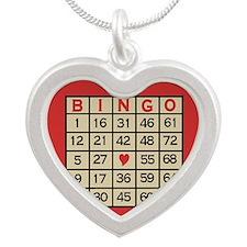 Bingo Game Card Silver Heart Necklace