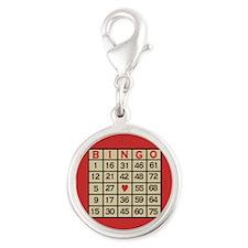 Bingo Game Card Silver Round Charm
