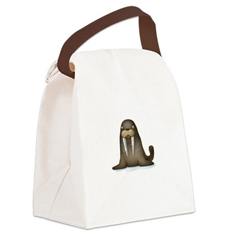 Walrus Vampire White Canvas Lunch Bag