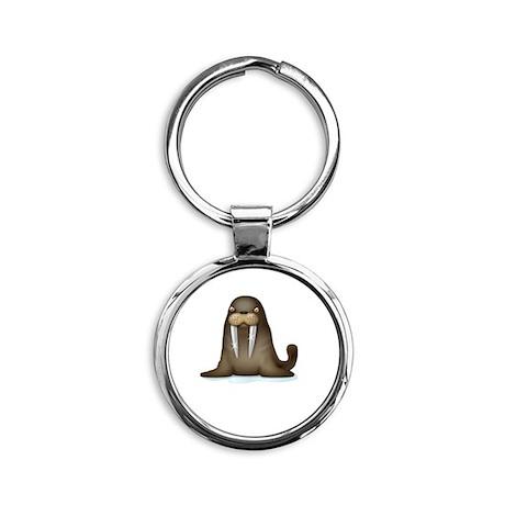 Walrus Vampire White Round Keychain