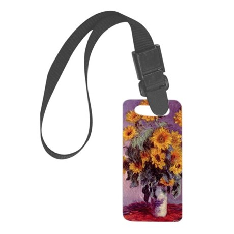 Sunflowers by Claude Monet r3 Small Luggage Tag