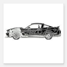 """car drive auto race fm Square Car Magnet 3"""" x 3"""""""