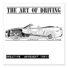 """car drive auto race ccw Square Car Magnet 3"""" x 3"""""""