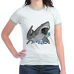 Shark Great White Ocean Jr. Ringer T-Shirt