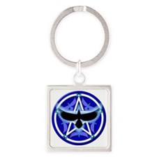Crow Pentacle - Blue Square Keychain
