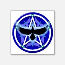"Crow Pentacle - Blue Square Sticker 3"" x 3"""