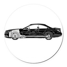 car drive auto race mbb Round Car Magnet